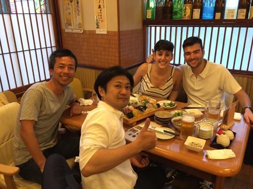 Hironori y Tadashi, Cena en Kiba